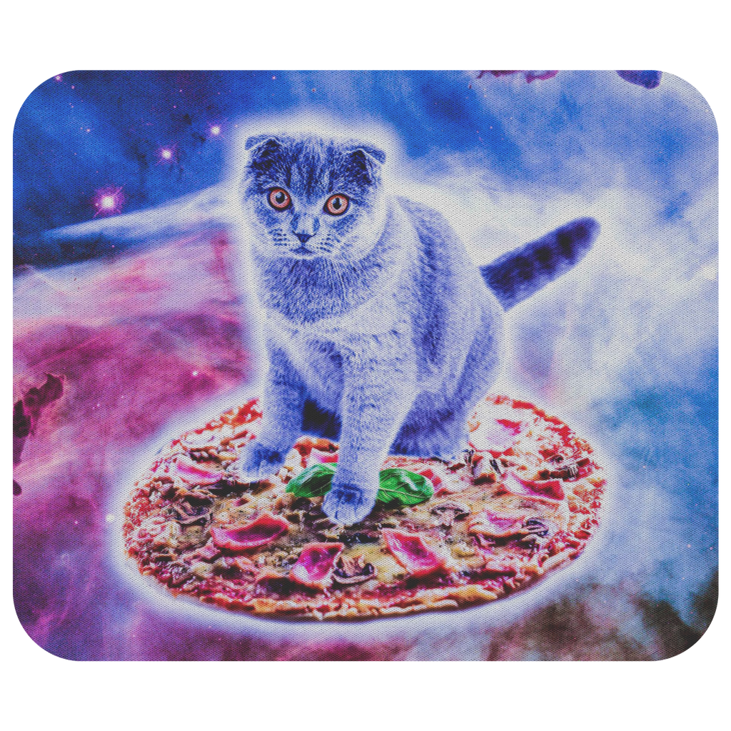 teelaunch Mousepads Galaxy Kitty Cat Riding Pizza In Space Galaxy Kitty Cat Riding Pizza In Space Mousepad