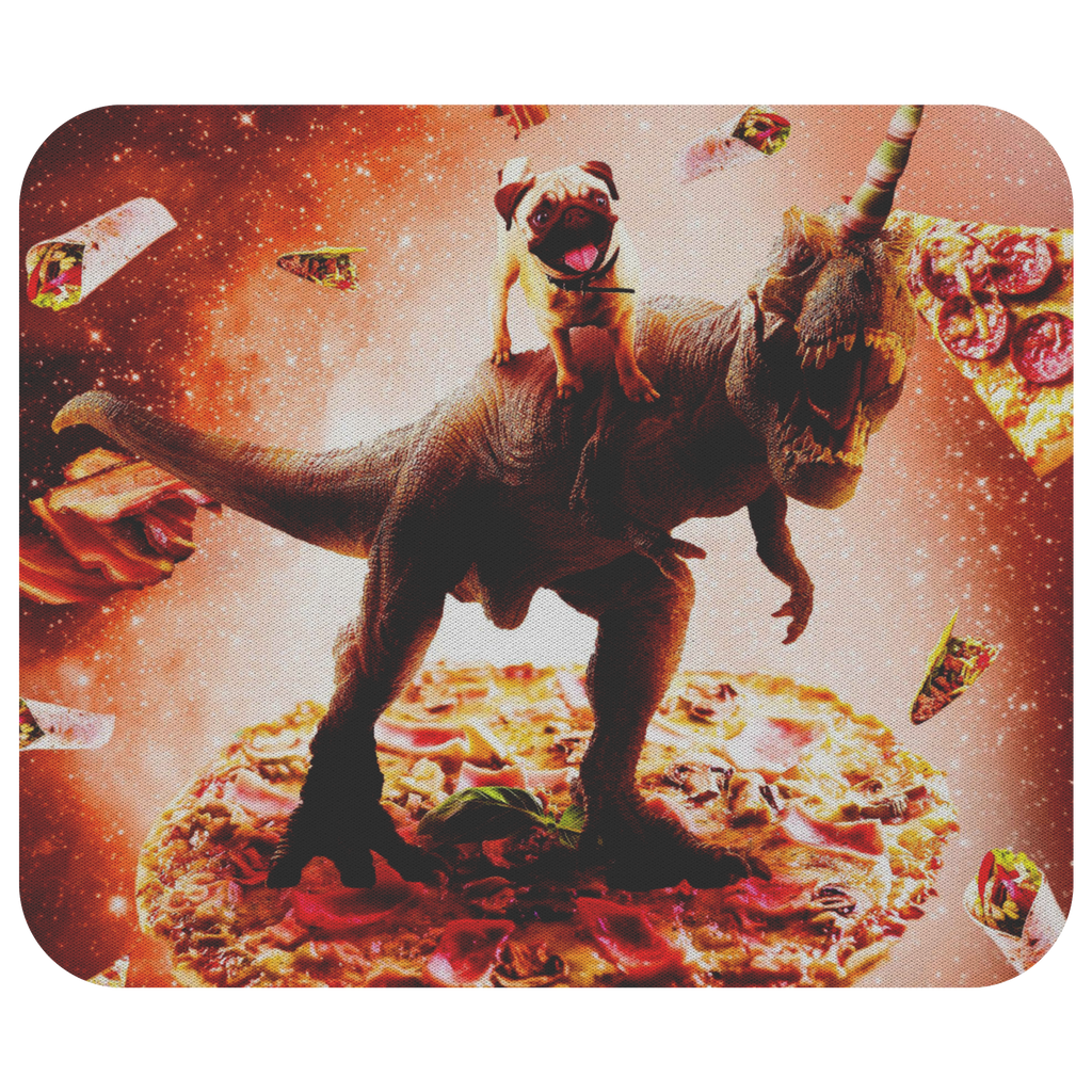 teelaunch Mousepads Outer Space Pug Riding Dinosaur Unicorn - Pizza Outer Space Pug Riding Dinosaur Unicorn - Pizza Mousepad