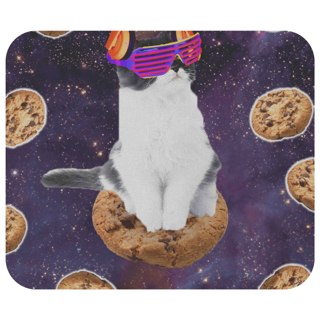 teelaunch Mousepads Rave Kitty Cat On Choc Cookie In Space Rave Kitty Cat On Choc Cookie In Space Mousepad