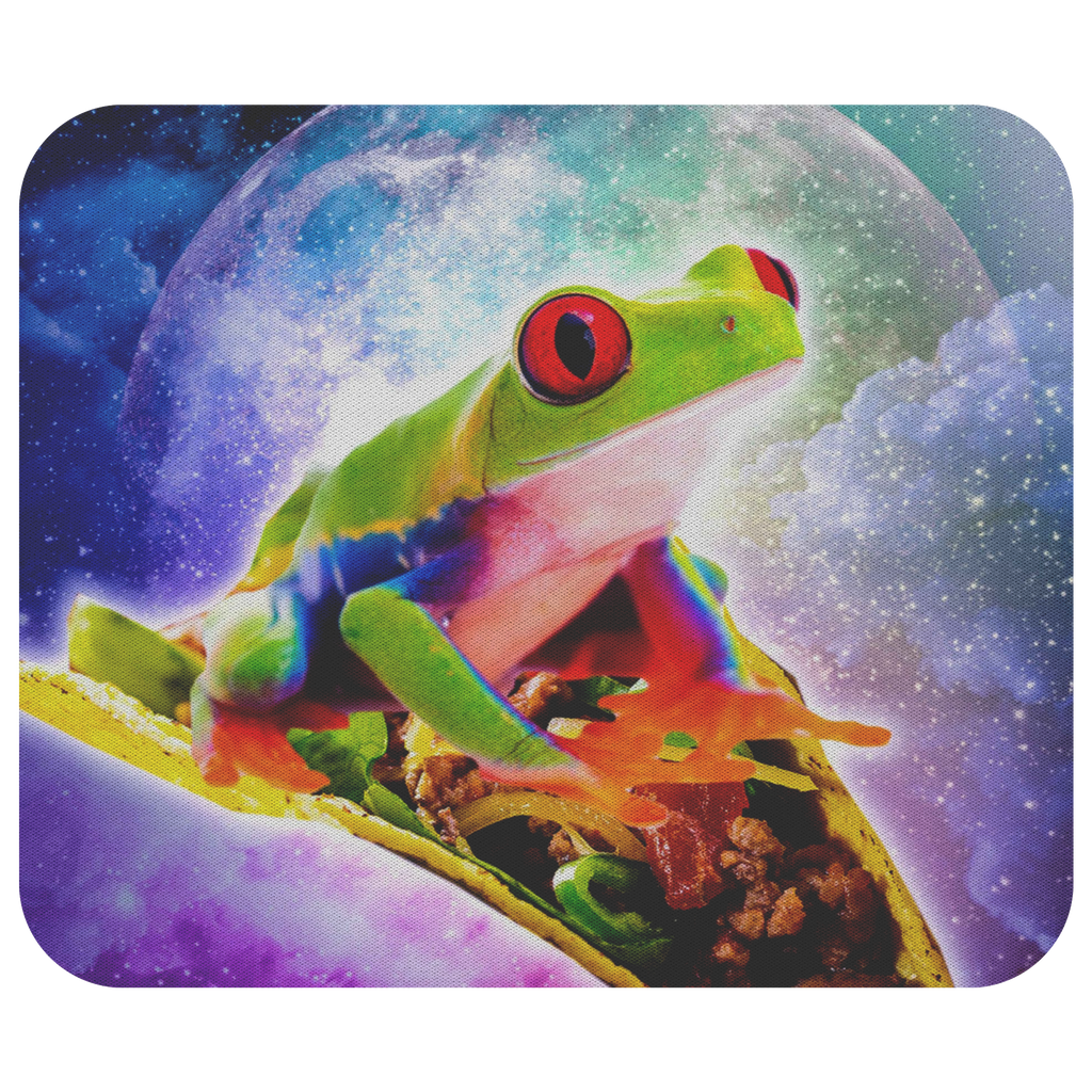 teelaunch Mousepads Red Tree Frog Riding Taco In Space Red Tree Frog Riding Taco In Space Mousepad
