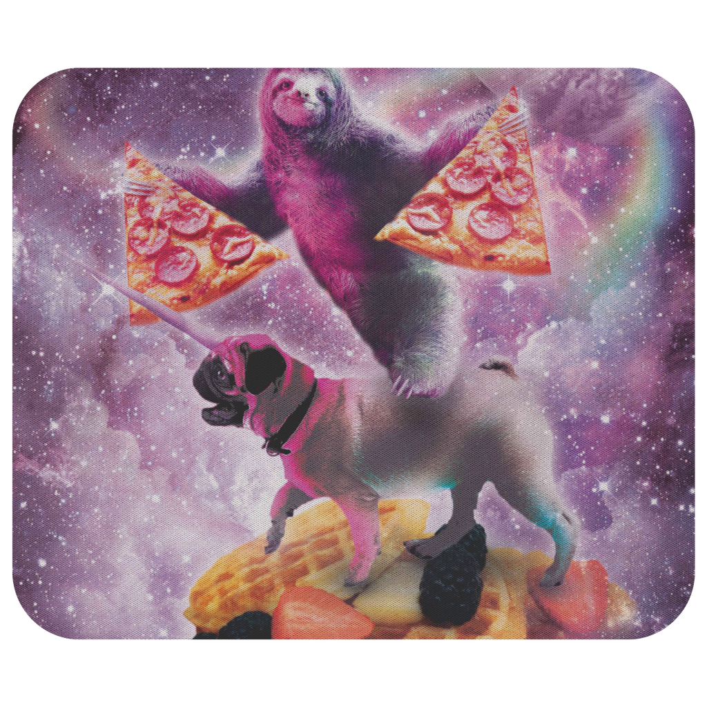 teelaunch Mousepads Space Pizza Sloth On Pug Unicorn On Waffles Space Pizza Sloth On Pug Unicorn On Waffles Mousepad