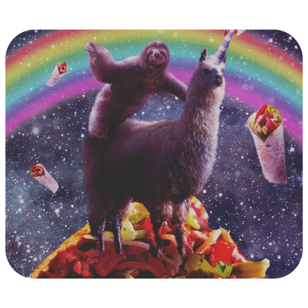 teelaunch Mousepads Space Sloth Riding Llama Unicorn - Taco & Burrito Space Sloth Riding Llama Unicorn - Taco & Burrito Mousepad