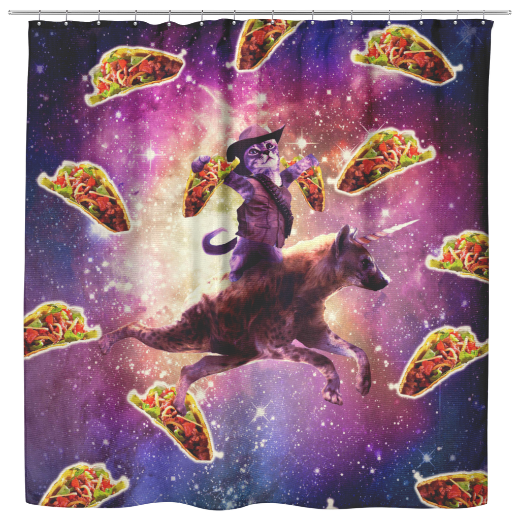 teelaunch Shower Curtains Shower Curtain Cowboy Space Cat On Hyena Unicorn - Taco Shower Curtain