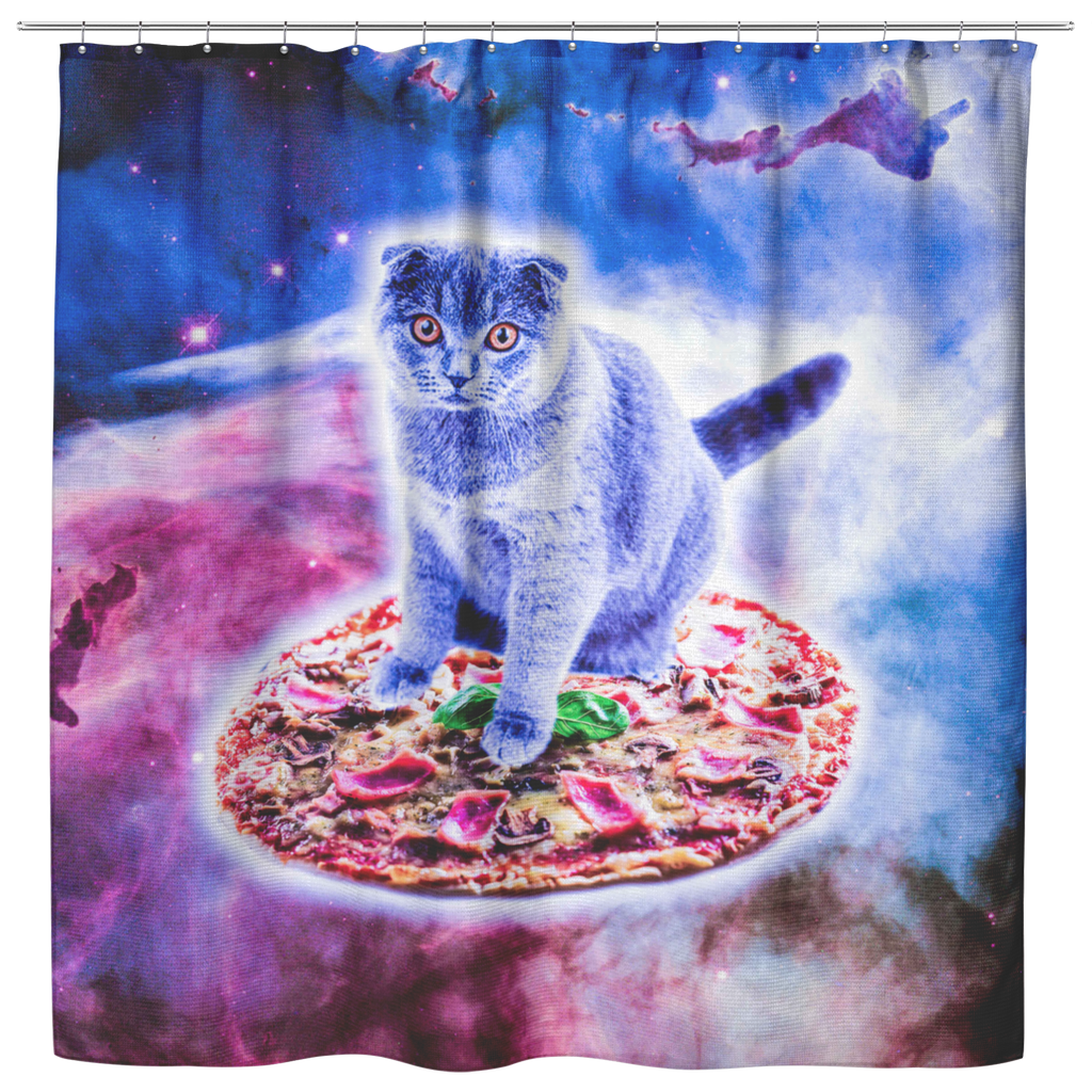 teelaunch Shower Curtains Shower Curtain Galaxy Kitty Cat Riding Pizza In Space Shower Curtain