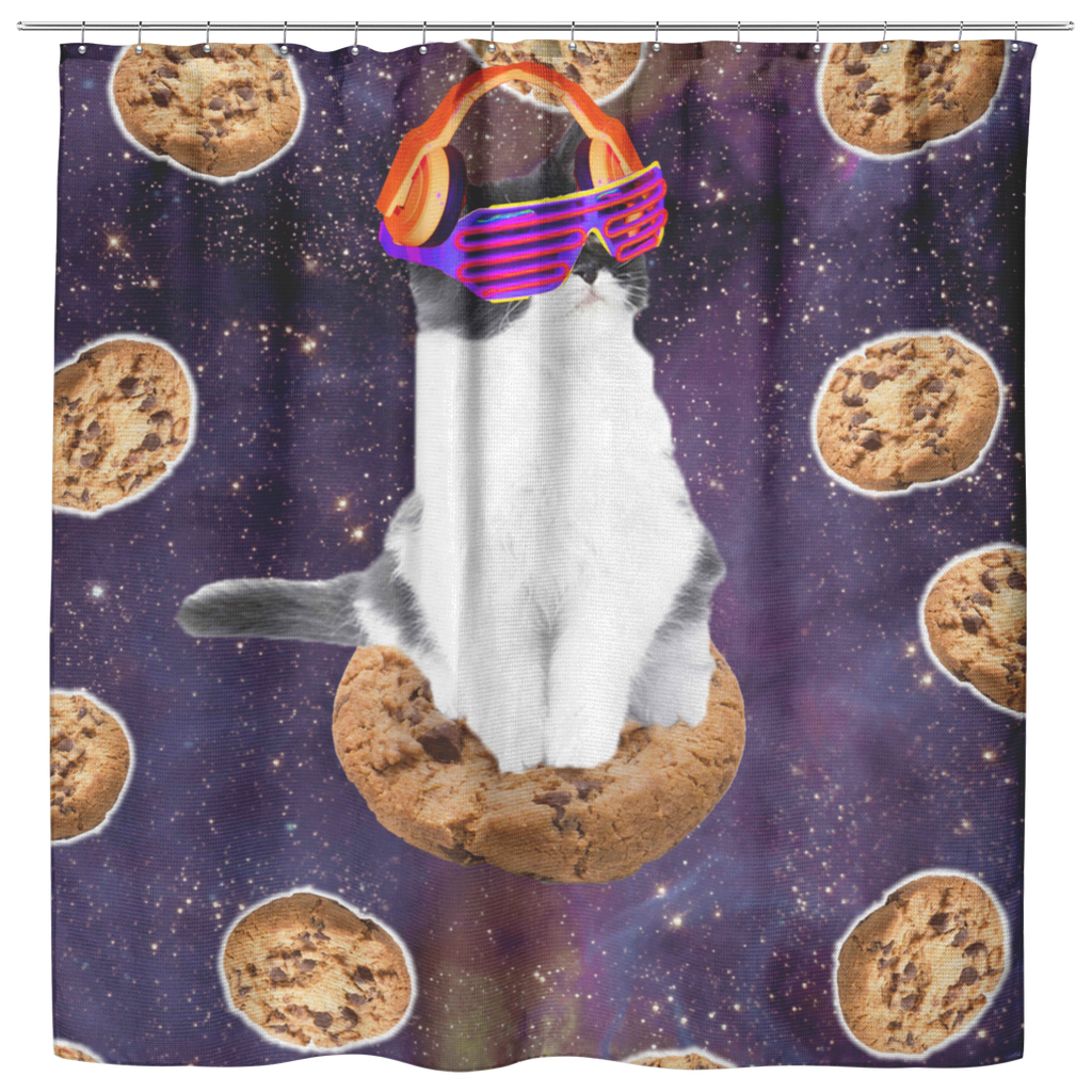 teelaunch Shower Curtains Shower Curtain Rave Kitty Cat On Choc Cookie In Space Shower Curtain