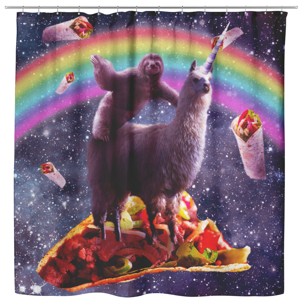 teelaunch Shower Curtains Shower Curtain Space Sloth Riding Llama Unicorn - Taco & Burrito Shower Curtain