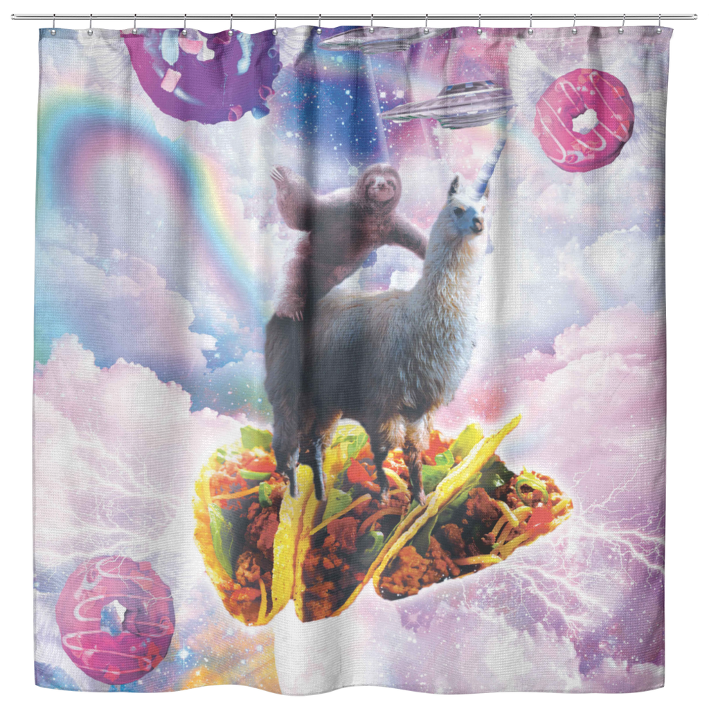 teelaunch Shower Curtains Shower Curtain Space Sloth Riding Llama Unicorn - Taco & Donut Shower Curtain