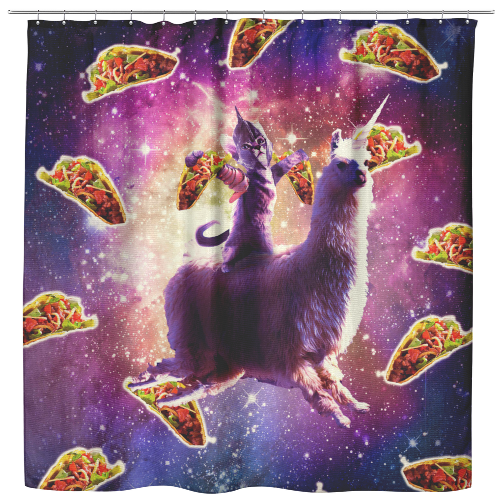 teelaunch Shower Curtains Shower Curtain Warrior Space Cat On Llama Unicorn - Taco Shower Curtain