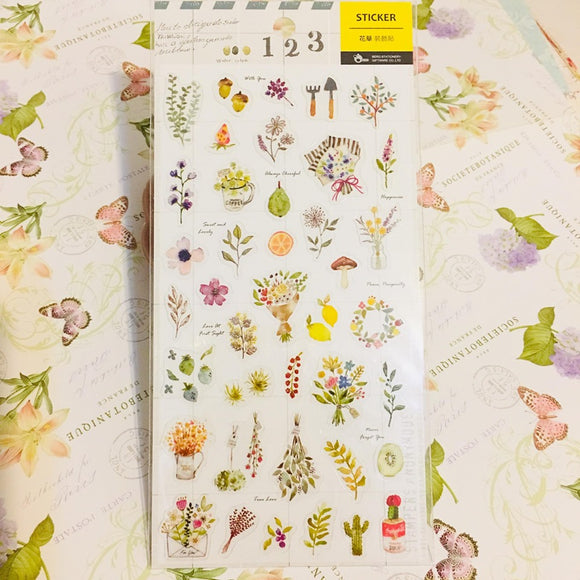 BERG Watercolor Plants Transparent Sticker Sheet Pion