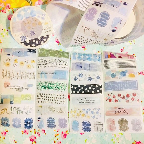 50cm Pion Color Watercolor Die-cut Strips Washi Tape Roll or Sample