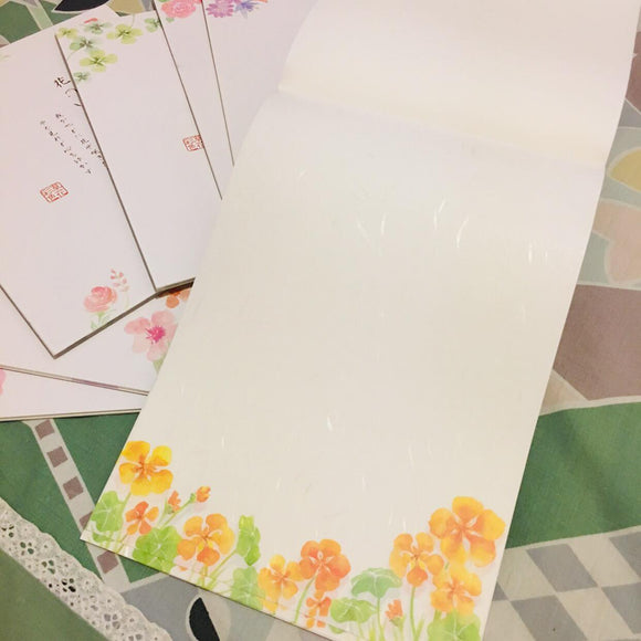 SAMPLER Washi Paper Sheets Yellow and Oragne Flowers
