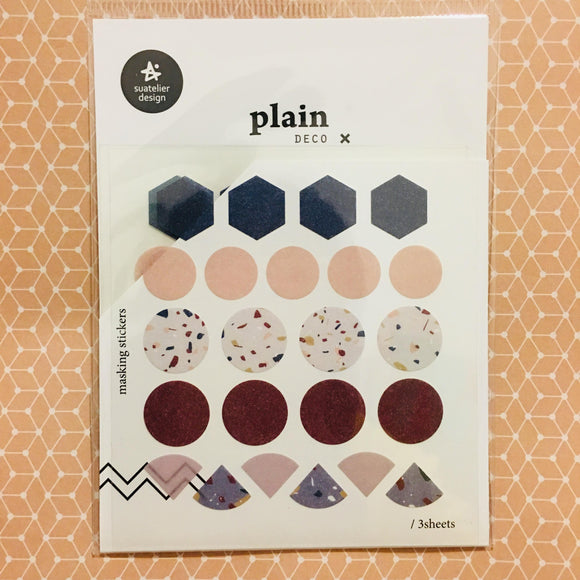 Suatelier Design plain x deco Simple Geometric Shapes Planner Masking Sticker Sheets