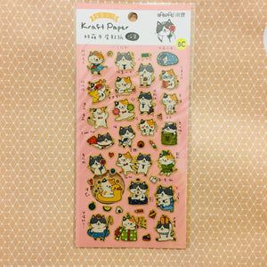 NanPao Kraft Paper Cat Sticker Sheet C