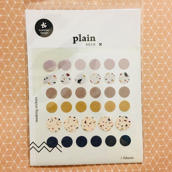 Suatelier Design plain x deco Simple Circle Planner Masking Sticker Sheets