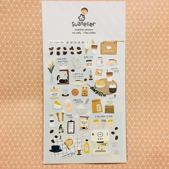 Suatelier Design i like coffee sticker sheet