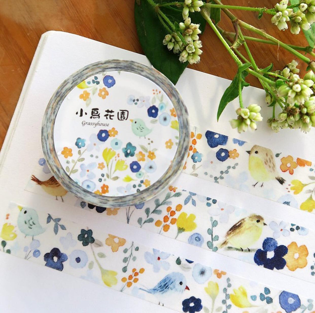 Grassyhouse Watercolor Flowers Washi Tape Roll