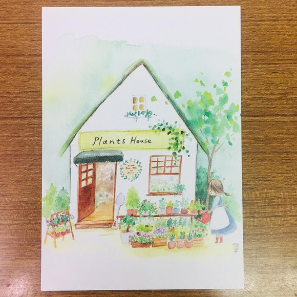Grassyhouse Plants House Illustration Postcard