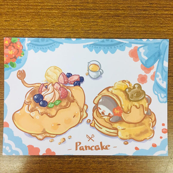 Popopenguin Illustration Pancakes Postcard