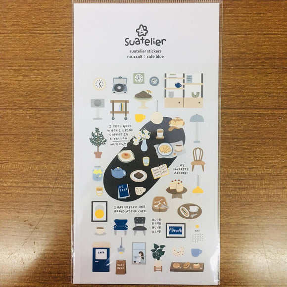 Suatelier Design cafe blue sticker sheet