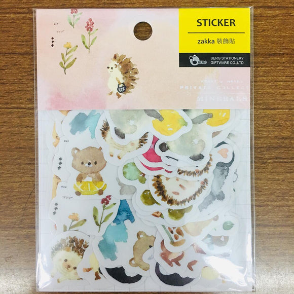 BERG Watercolor Animals Pink Sticker Flakes Pack Pion