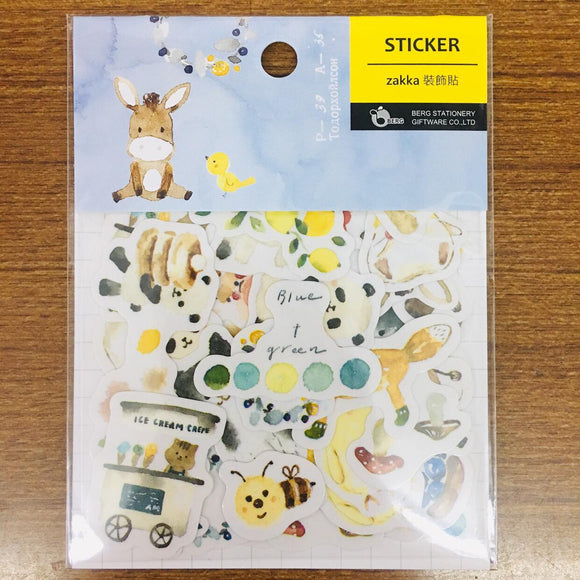 BERG Watercolor Animals Blue Sticker Flakes Pack Pion