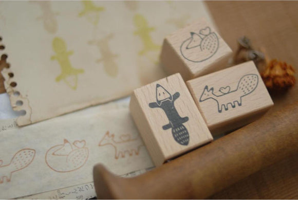 Evakaku Foxes Wood Rubber Stamp