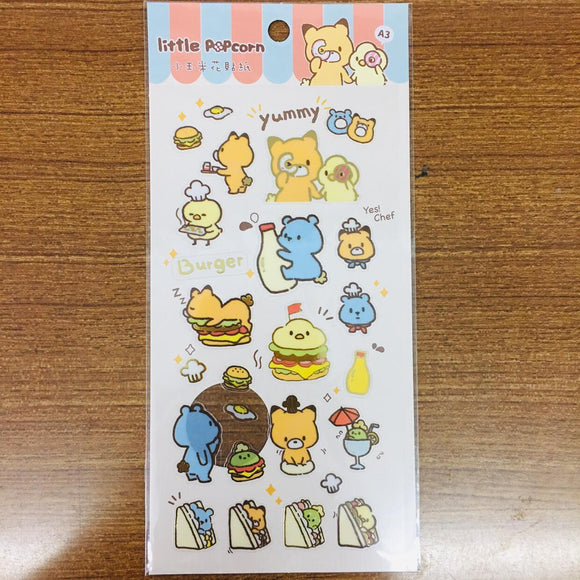 Little Popcorn Food Transparent Gold Foiled Sticker Sheet