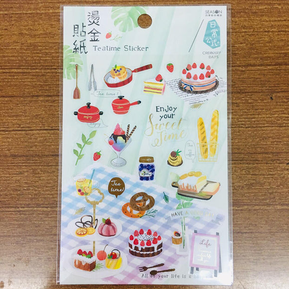 Season Paper Teatime Gold Foiled Transparent Sticker Sheet