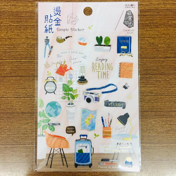 Season Paper Simple Gold Foiled Transparent Sticker Sheet