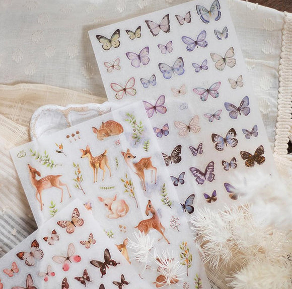 Loidesign Deer and Butterflies Transfer Sticker Sheets Pack