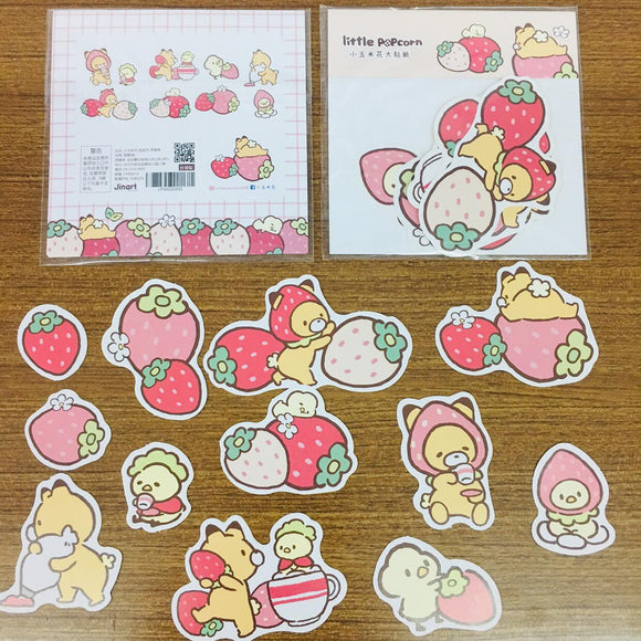 Little Popcorn Pink Strawberries Sticker Flakes Pack