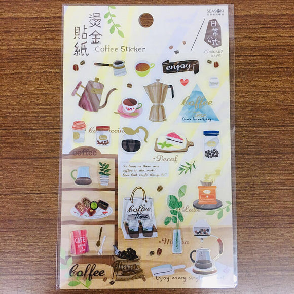 Season Paper Coffee Gold Foiled Transparent Sticker Sheet