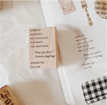 Load image into Gallery viewer, Yeoncharm Menu Rubber Wood Coffee Stamp