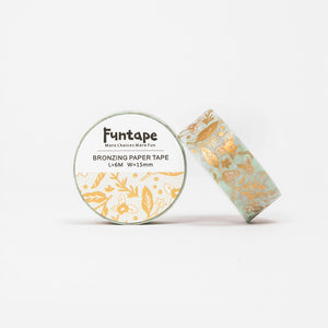 Funtape Bronzing Paper Foiled Green Pastel Flowers Masking Washi Tape Roll