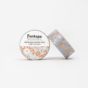Funtape Bronzing Paper Foiled Blue Pastel Flowers Masking Washi Tape Roll