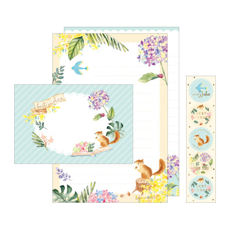 NanPao Watercolor Squirrel and Plants Stationery Letter Set