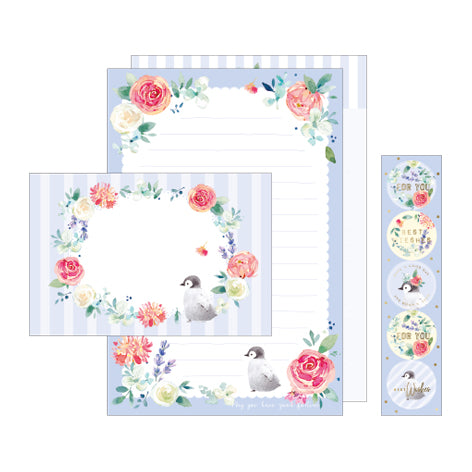 NanPao Watercolor Penguins and Roses Stationery Letter Set