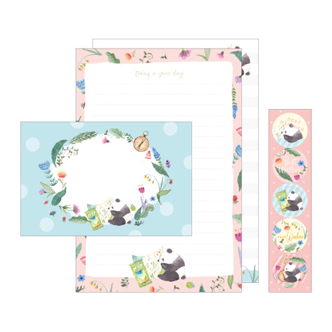 NanPao Watercolor Pandas Stationery Letter Set