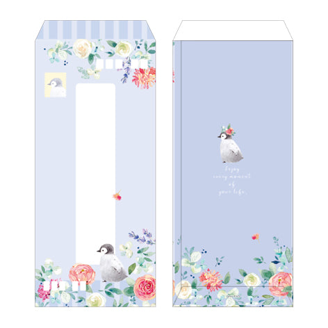 NanPao Watercolor Penguins and Roses Long Envelopes Pack