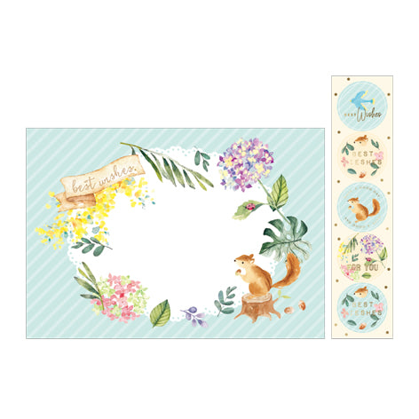 NanPao Watercolor Squirrel and Flowers Envelopes Sticker Pack