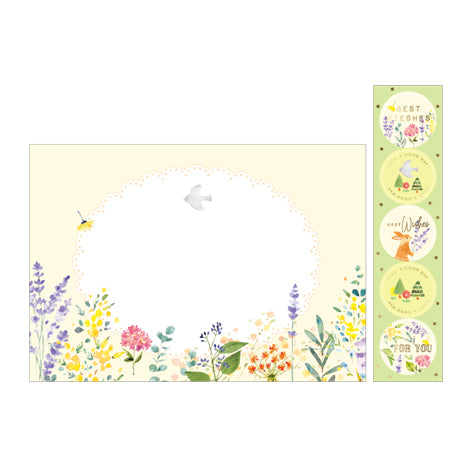 NanPao Watercolor Bird and Flowers Envelopes Sticker Pack