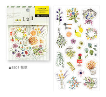 Load image into Gallery viewer, BERG Zakka Watercolor Flower Sticker Flake Pack