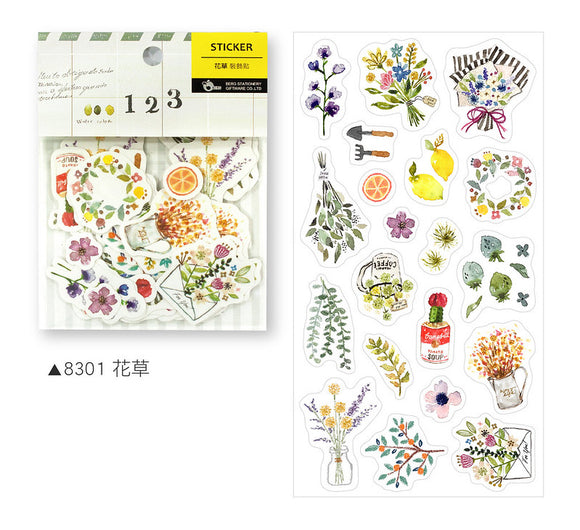 BERG Zakka Watercolor Flower Sticker Flake Pack