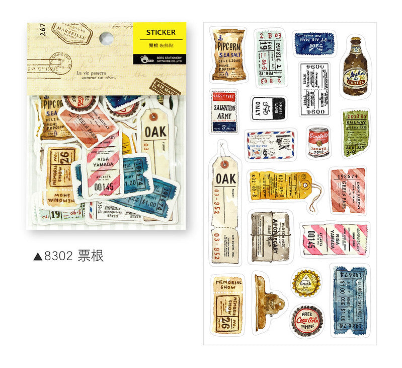 BERG Zakka Watercolor Ticker Vintage Sticker Flake Pack