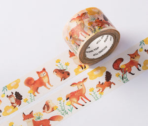 wwiinngg Happy Together Forest Animal Illustrated Washi Tape Roll