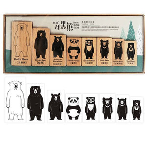 Taiwan Black Bear Wooden Rubber Stamp 8 in a Set