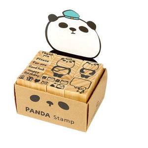 Xie Xie Panda Mail Wood Rubber Stamp Set