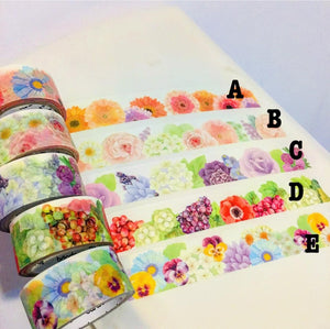 50cm Flowers Washi Tape Samples A to E