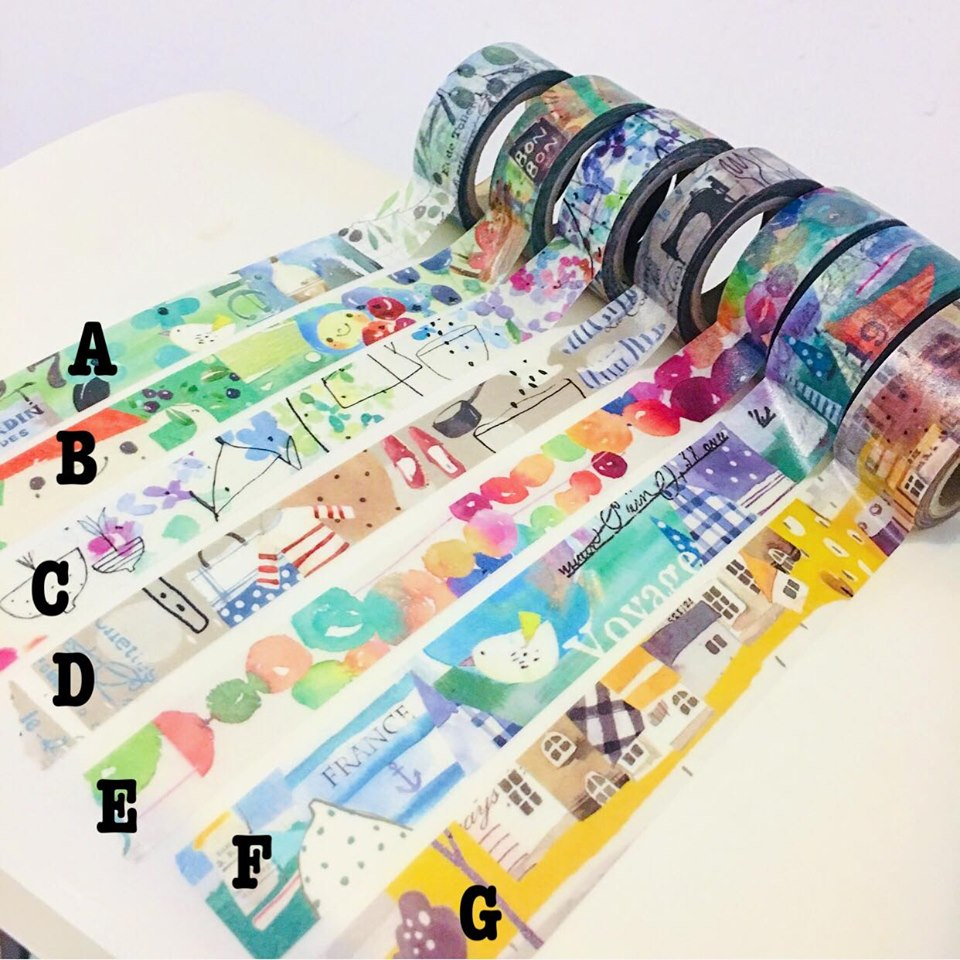50cm Fion Stewart Washi Tape Samples A to G