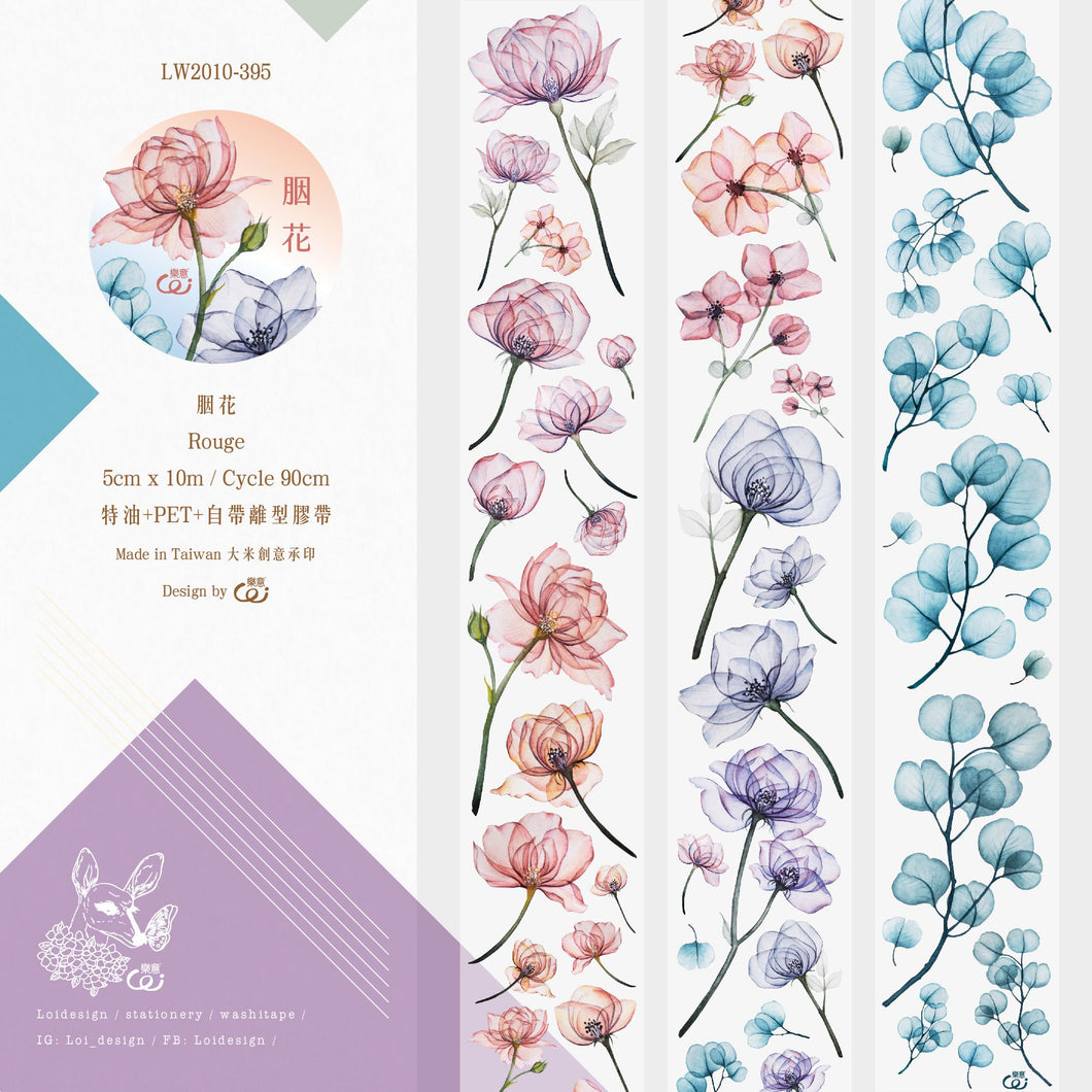 90cm Loidesign Flowers PET Washi Tape Sample
